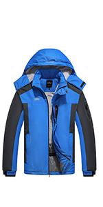 Waterproof Winter Jacket Snow Jacket Windproof Hooded with Inner Warm Fleece Coat