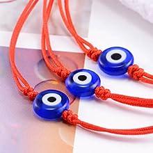 3 red string evil eye bracelets