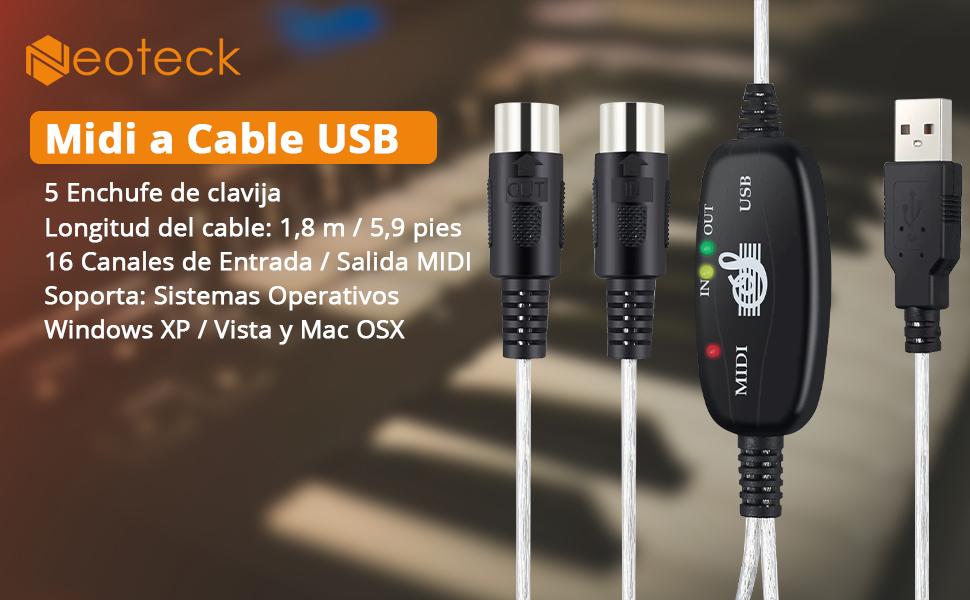 Neoteck USB Midi Adaptador 6Ft 2M USB a Midi Interface Cable Convertidor-USB a Midi In-out Convertidor Teclado Musical Piano a PC Portátil para Win 7 ...