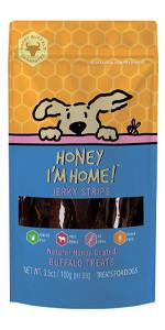 Honey I'm Home All Natural, Honey Coated Buffalo Jerky Strips for Dogs, 3.5 Ounces