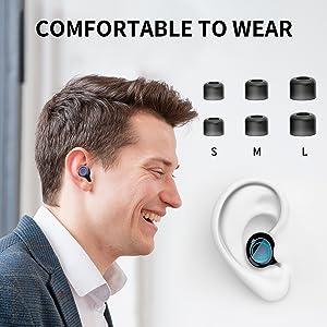 black wireless earbuds headphones wireless earbuds touch control wireless earbuds