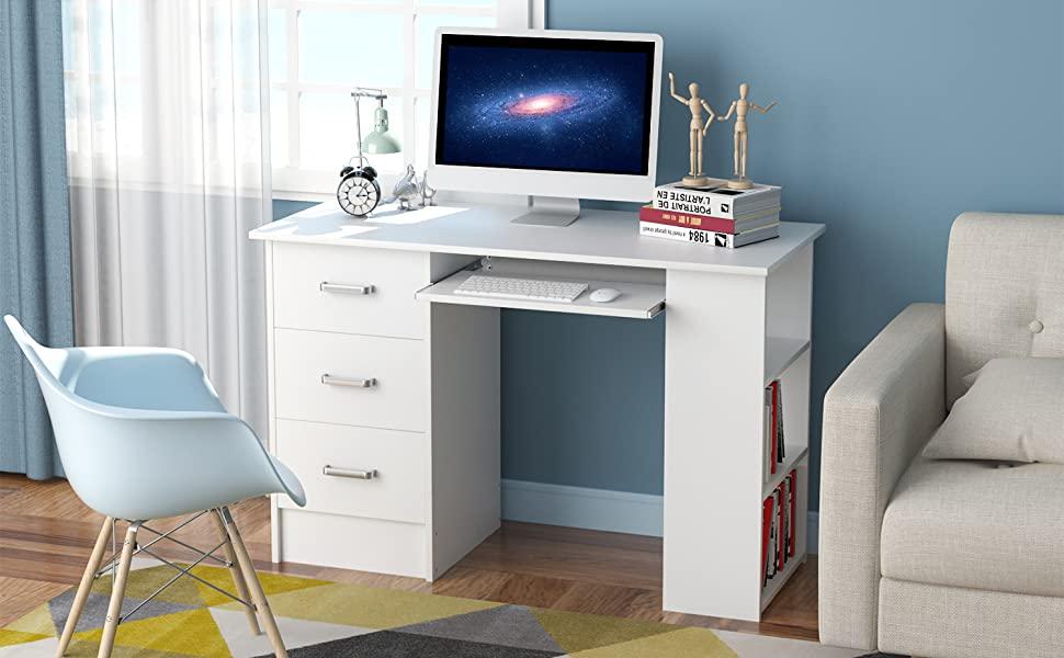 Homfa Bureau Table d/'Ordinateur Table d/'/Étude Table de Travail PC pour Salon avec 2 Tiroirs 108x48x76.5cm Bois Naturel