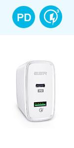 ESR USB C 充電器 PD+QC