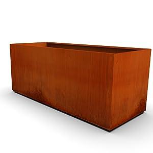 corten steel rectangular planter 360 profile image