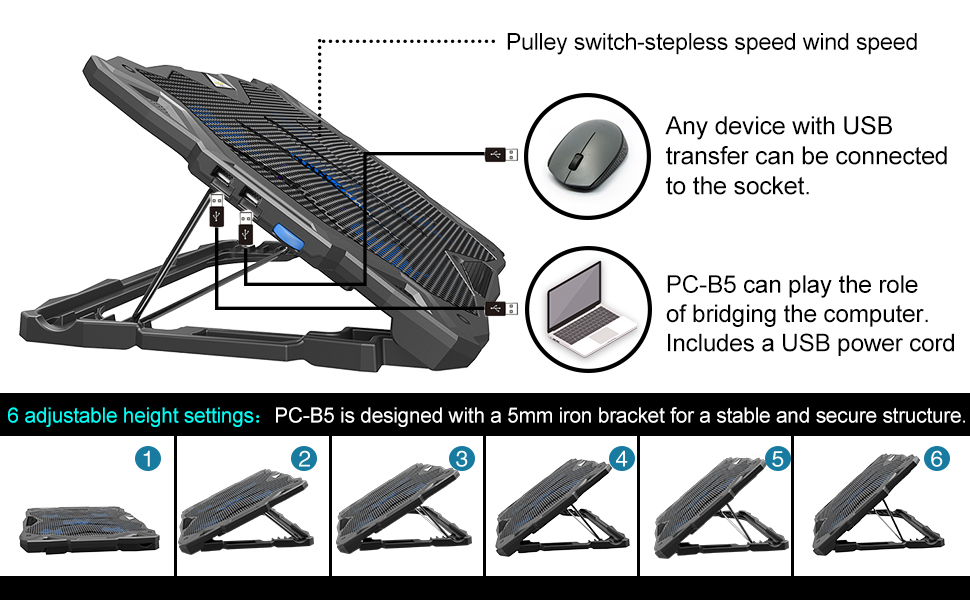 laptop cooling pad  Pccooler Laptop Cooling Pad, Portable Laptop Stand with 6 Angle Adjustable & 5 Quiet Blue LED Fans for 12-17.3 Inch Gaming Laptop, Laptop Cooler Built-in Dual USB Ports Support Mouse Device, Keyboard 9dafbb44 ff38 48aa addb 20c33beb1ead