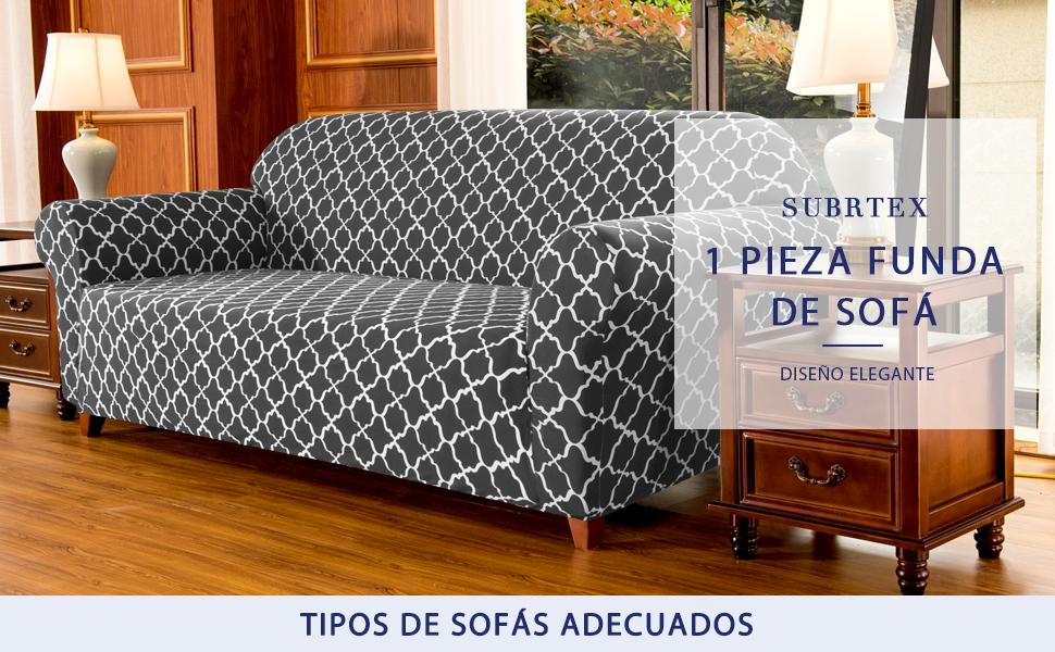subrtex 1 Pieza Funda de Sofá Poliéster Elástica Patrón Impreso Cubierta de Asiento Forro de Sofá Doméstica (3 Plazas, Gris)