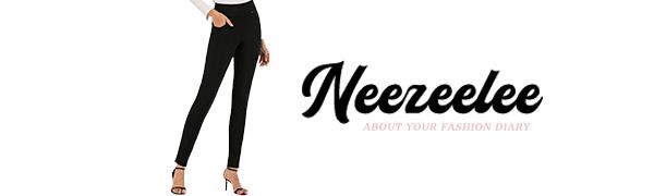 neezeelee Fashion Women's black dress pants Work Leggings