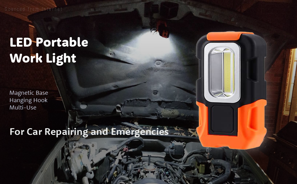 Magnetic LED USB COB Work Light Car Garage Mechanic Torch Lamp Home V4X2