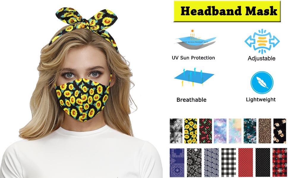 Christmas Face Bandana Headband for Women Turban Headbands Ear Protection Boho Girls Knotted Bow