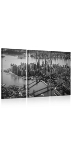black and grey wall art Manhattan Downtown Urban Skyline Modern Home Decor Stretched and Framed