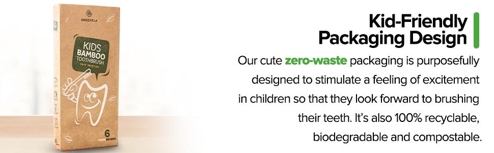 kids bamboo toothbrush Charcoal toothbrushes Organic  Biodegradable Organic zero-waste Natural child