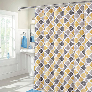 Amazon Com Haperlare Quatrefoil Shower Curtain Geometric Pattern Fabric Shower Curtain For Bathroom Showers And Bathtub Cotton Blend Fabric Shower Curtain For Bathroom Decoration 72 X 72 Yellow Grey Home Kitchen