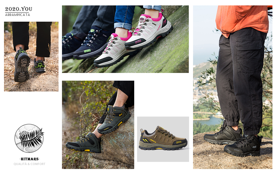 Scarpe Trekking Uomo Traspiranti Scarpe da Escursionismo Basse Leggere Sneakers Lacci