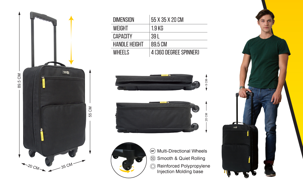 Travel Ready 4-Wheel Collapsible Cabin Luggage Details Specifications Informations
