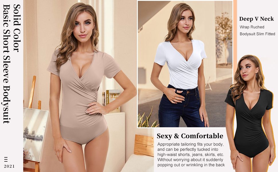 solid basic short sleeve bodysuit sexy v neck wrap ruched body suit loose fit One Piece Tops causal