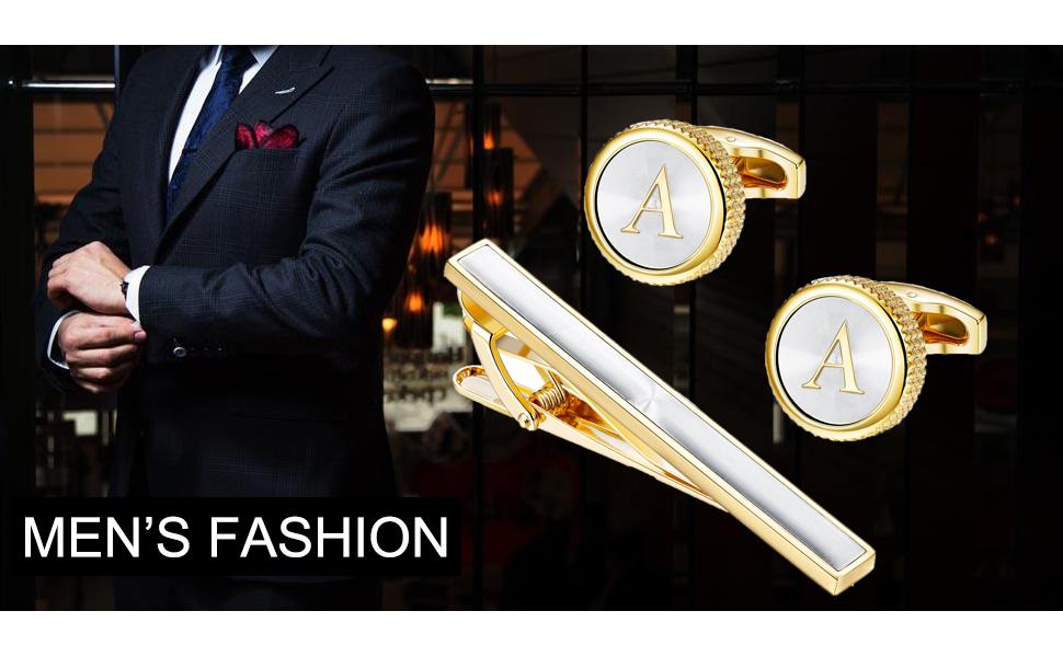 Mens Cufflinks Tie Bar Clip Set Alphabet Letter Cufflinks