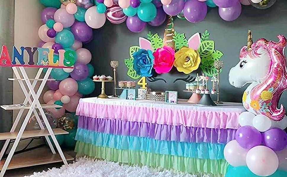 tutu tulle table skirt for unicorn theme birthday party