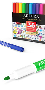 Dry-Erase-Markers-Assorted-Colors-Fine-Tip---Set-of-36