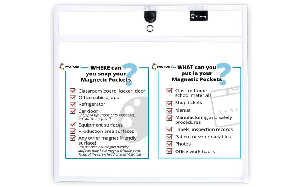 black magnetic dry erase pocket sleeves classroom organization office organization 10-pack 6-pack