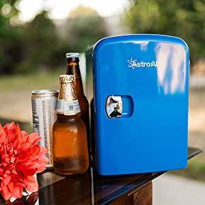 123  AstroAI Mini Fridge 4 Liter/6 Can Portable AC/DC Powered Thermoelectric System Cooler and Warmer for Cars, Homes, Offices, and Dorms, Blue 9dd795c0 b10e 44dc 9cde 1395e9f24d1d
