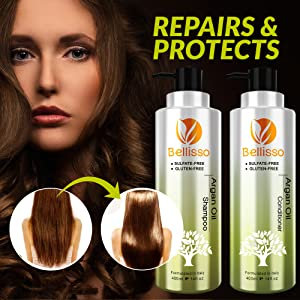 A photo of our argan oil shampoo and conditioner set