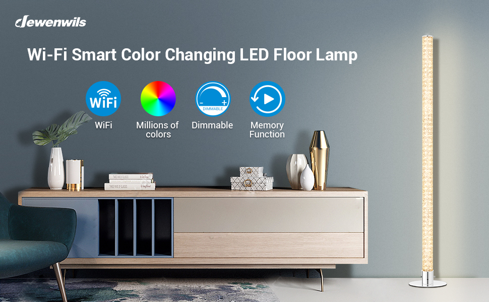 WiFi Smart APP Control & Remote Control RGBW Color Changing LED Floor Lamp