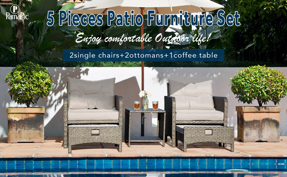 PAMAPIC Patio Chairs with Ottomans