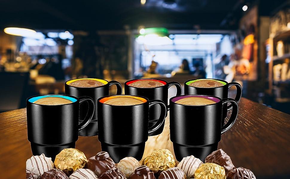 18 Ounces Coffee Mugs, Large Porcelain Cups for Coffee, Tea, Cocoa, Set of 6, Multi Colors