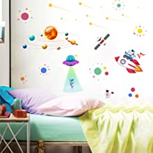 Space Wall Decals Planets Rocket Spaceship Robot Alien and Astronaut Kids Wall Stickers