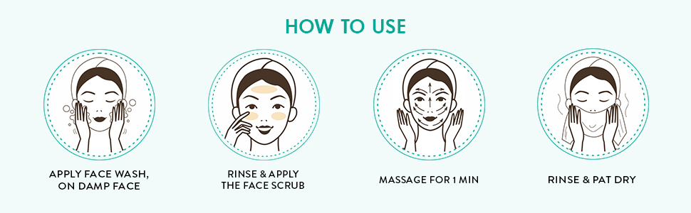how to use apply face wash rinse and apply face scrub massage rinse and pat dry