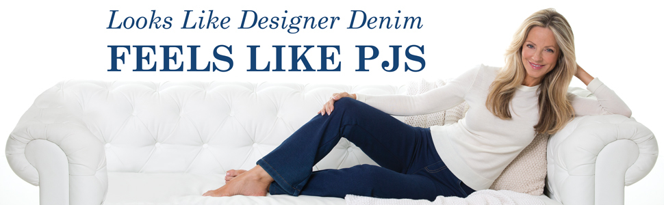 Woman in jeans on couch