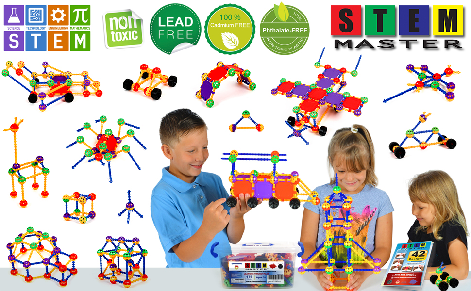 3 children playing with stem construction block toy