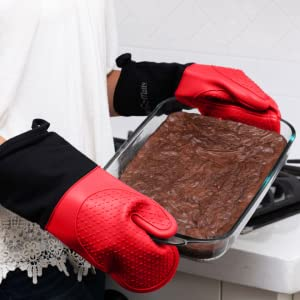pot holders for kitchen heat resistant, baking gloves, red oven mitts, hot pads and oven mitts sets