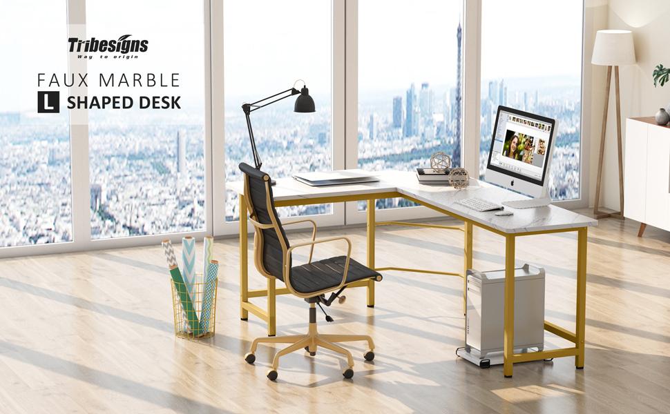 Tribesigns modern l shaped desk white gold