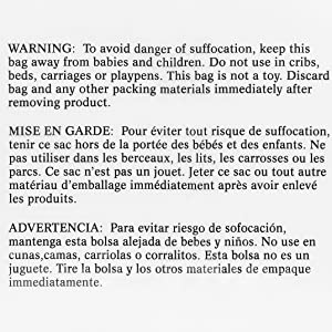 Suffocation Warning in English, French and Spanish