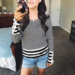 striped shirt women black