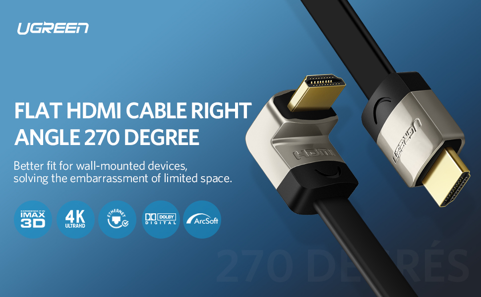 UGREEN HDMI Right Angle Cable 270 Degree Elbow Flat HDMI Cord 4K Ultra HD 3D 1080P
