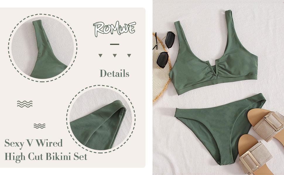sexy v wired high cut bikini set
