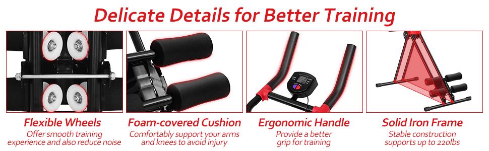 flexible wheels, foam covered cushine, ergonomic handle and solid triangular frame