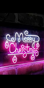 ADVPRO Dual Color LED Neon Sign light Merry Christmas Xmas ornament big font text ball atmosphere