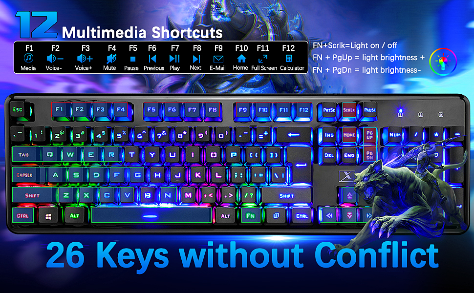26 keys without conflict  Wired Keyboard and Mouse Mousepad Combo,Mechanical Feel Rainbow Backlit Gaming Keyboard Mouse,10 Color RGB Gaming Mice Pad 7 Color Mute Gaming La Souris for PC Laptop Mac 9e14a799 914c 46bd a950 dac800cfb278