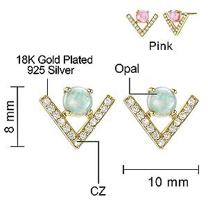 opal gold dainty studs for women
