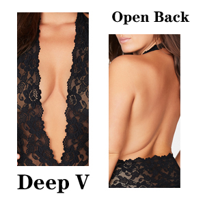 Deep V & Open Back Sexy Doubled