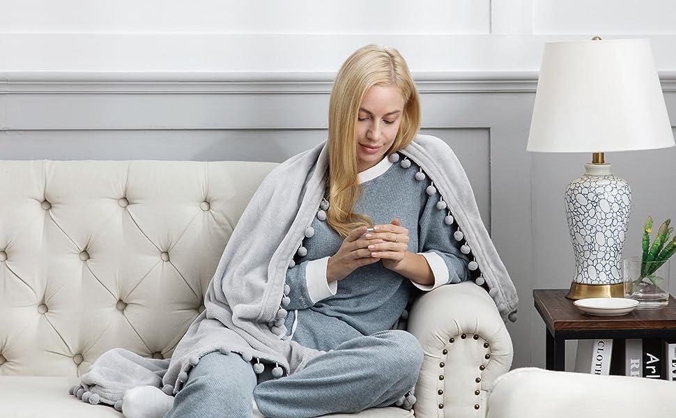 Pom Pom Throw Grey Blanket