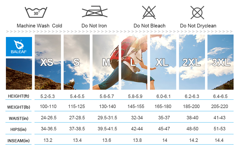 size chart wash tips