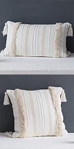 tassels lumbar throw pillow cover long pillow case boho sofa couch bedroom farmhouse beige cream