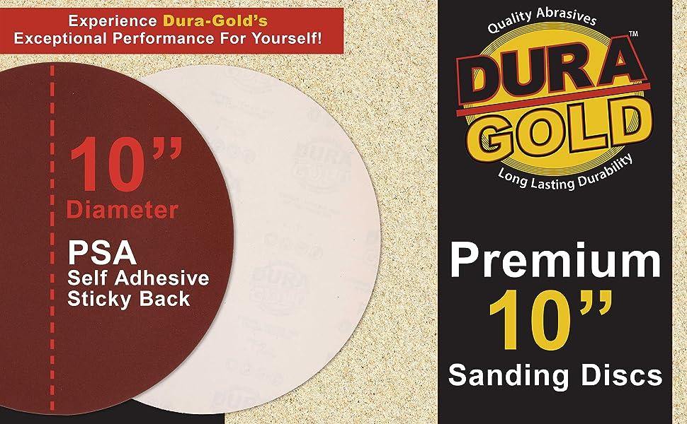 "Dura-Gold Premium 10"" PSA Self Adhesive Stick Back Sanding Discs"