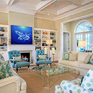 dolphin magic living room staging beach decor