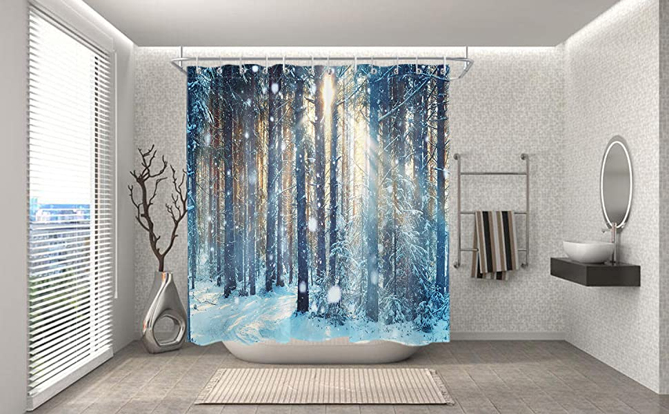 Amazon Com Lb Winter Shower Curtain Set Jungle Forest Wood Tree In Snow Bathroom Curtain With Hooks 72x72 Inch Waterproof Polyester Fabric Bathtub Curtain Kitchen Dining