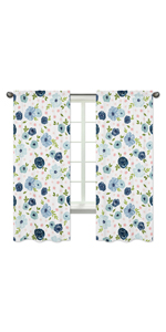 Navy Blue and Pink Watercolor Floral Window Treatment Panels Curtains - Set of 2